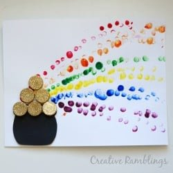 Rainbow pot of gold finger paint for St. Patrick's Day