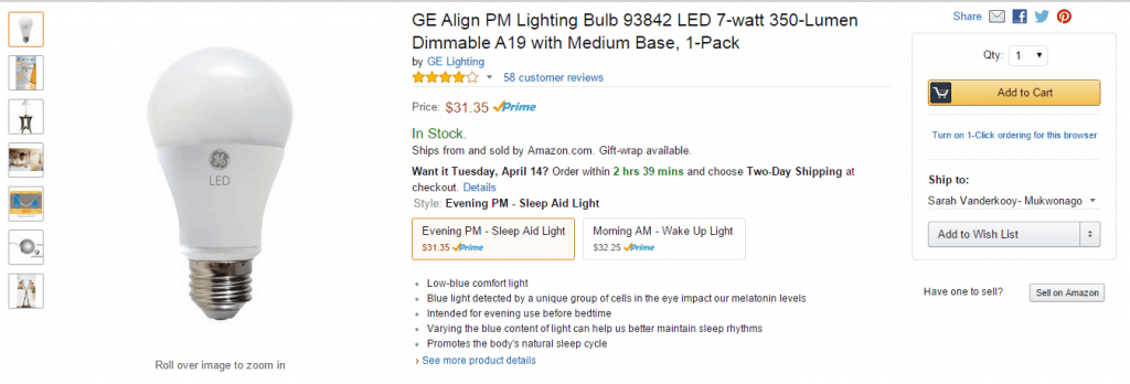 GE Align PM LED lightbulb on Amazon #SleepAligned #ad