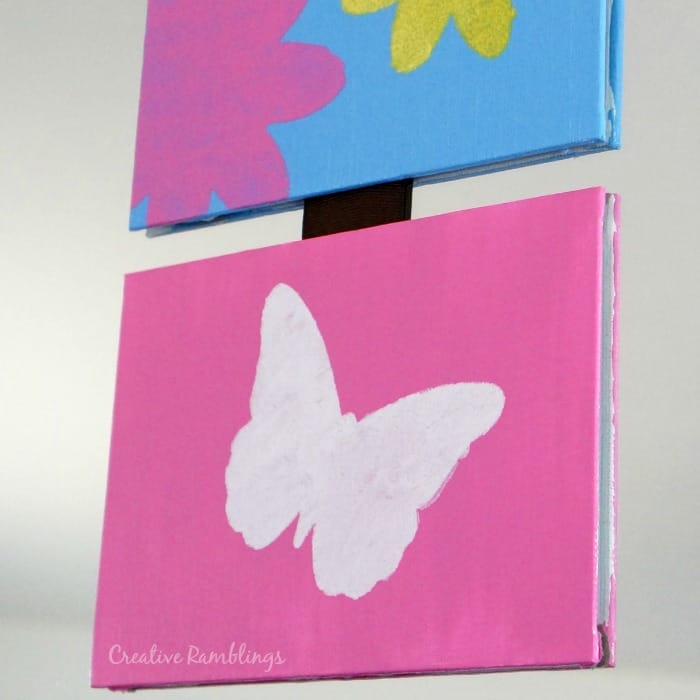 Butterfly stencil on a spring canvas