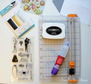 Card making supplies for a tri-fold wedding card