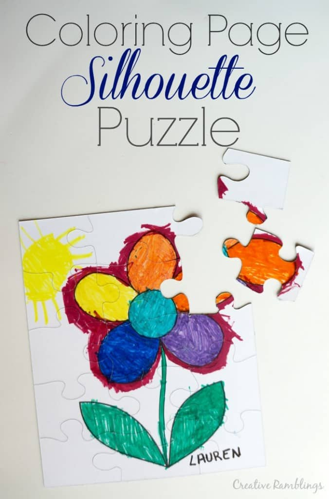 Coloring page puzzle using a Silhouette.  Easy way to turn a child's masterpiece into a puzzle.