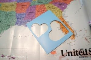 Use a heart stencil to cut out meaningful places on a map #SleepAligned #ad