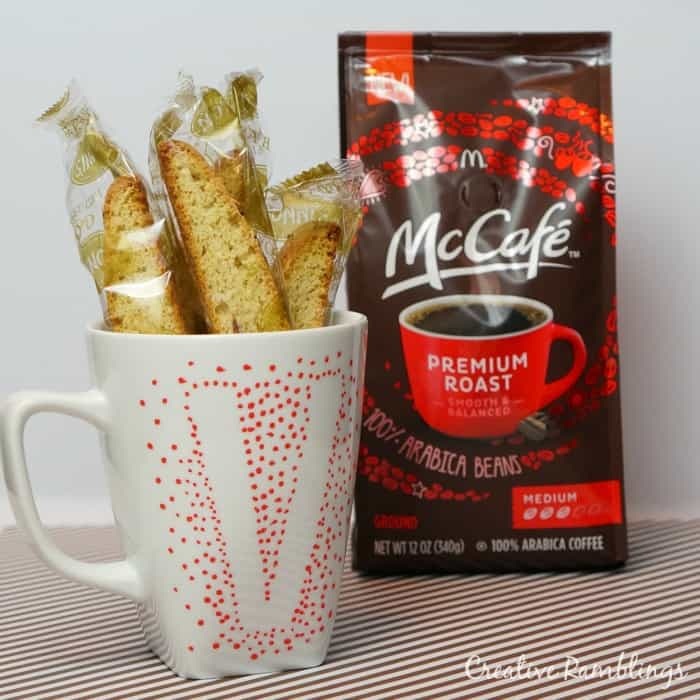 Me time gift using McCafe coffee, biscotti, and monogrammed mug. #McCafeMyWay #ad