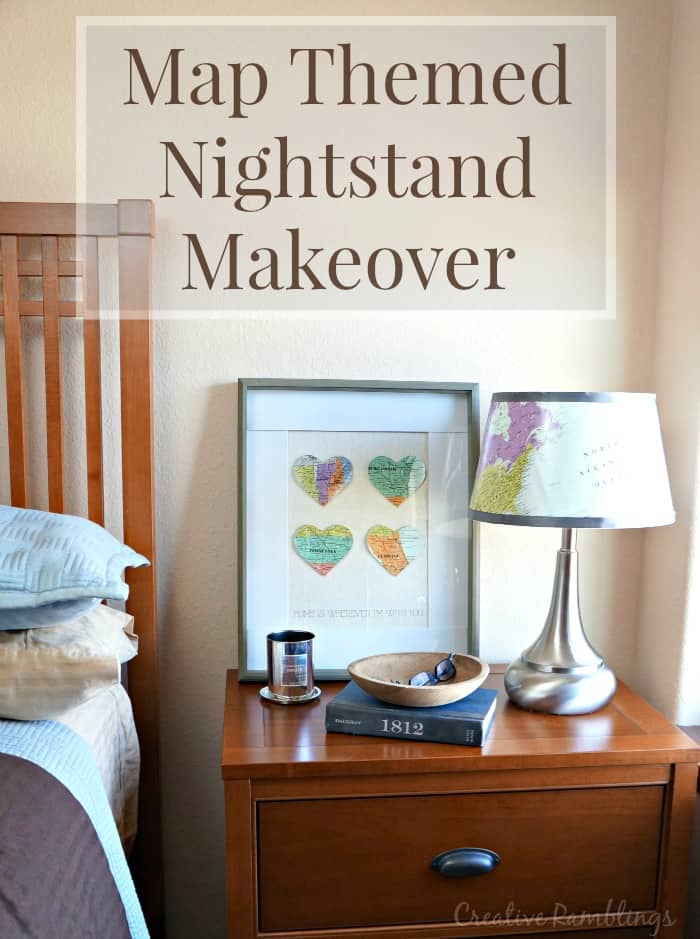 A map themed nightstand makeover. Promote natural sleep with GE Align PM lightbulb and calming surroundings. #SleepAligned #Ad