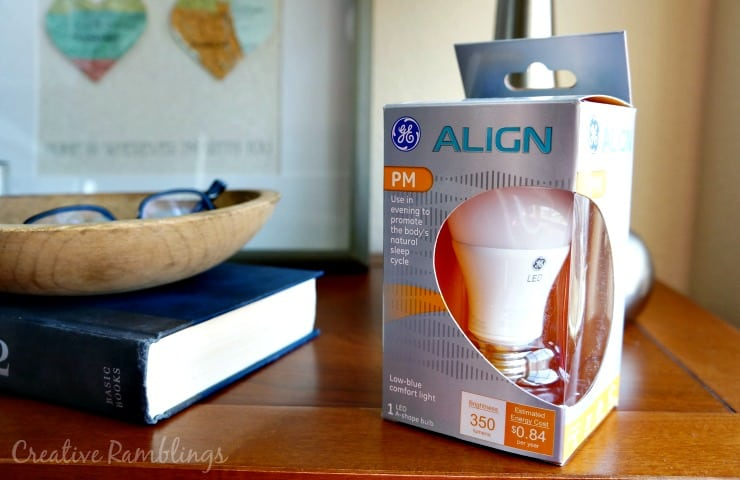 Promote natural sleep with GE Align LED PM Lightbulb and a calming map themed nightstand makeover.  #SleepAligned #ad