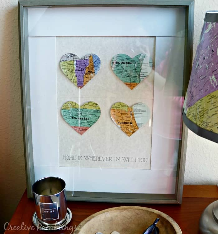 Create a memorable shadowbox with heart cut outs of special places.  #SleppAligned #Ad
