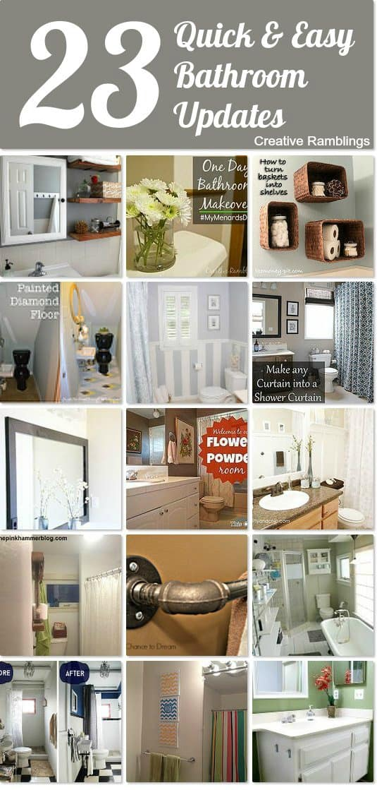 Quick and Easy Bathroom Updates.  23 ideas to inspire your bathroom makeover