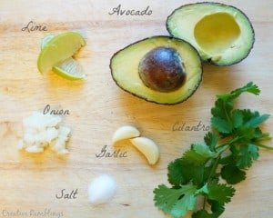 Fresh ingredients for simple guacamole