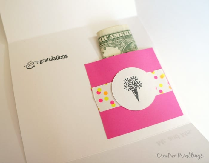 Money Holder Inside Of A Tri Fold Handmade Card
