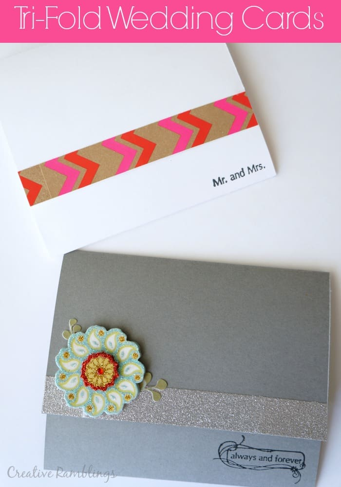 Tri Fold wedding cards.  Simple handmade cards with colorful modern touches.