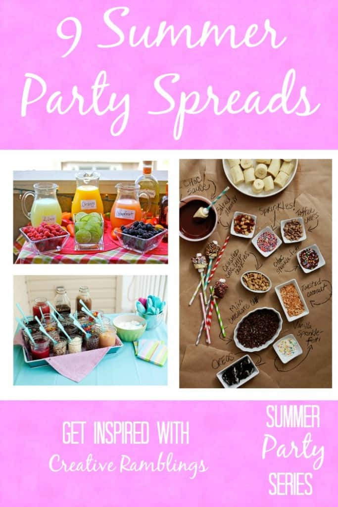 9 amazing, and easy, summer party spreads.  Beautifully display food and drinks  on your table this summer.