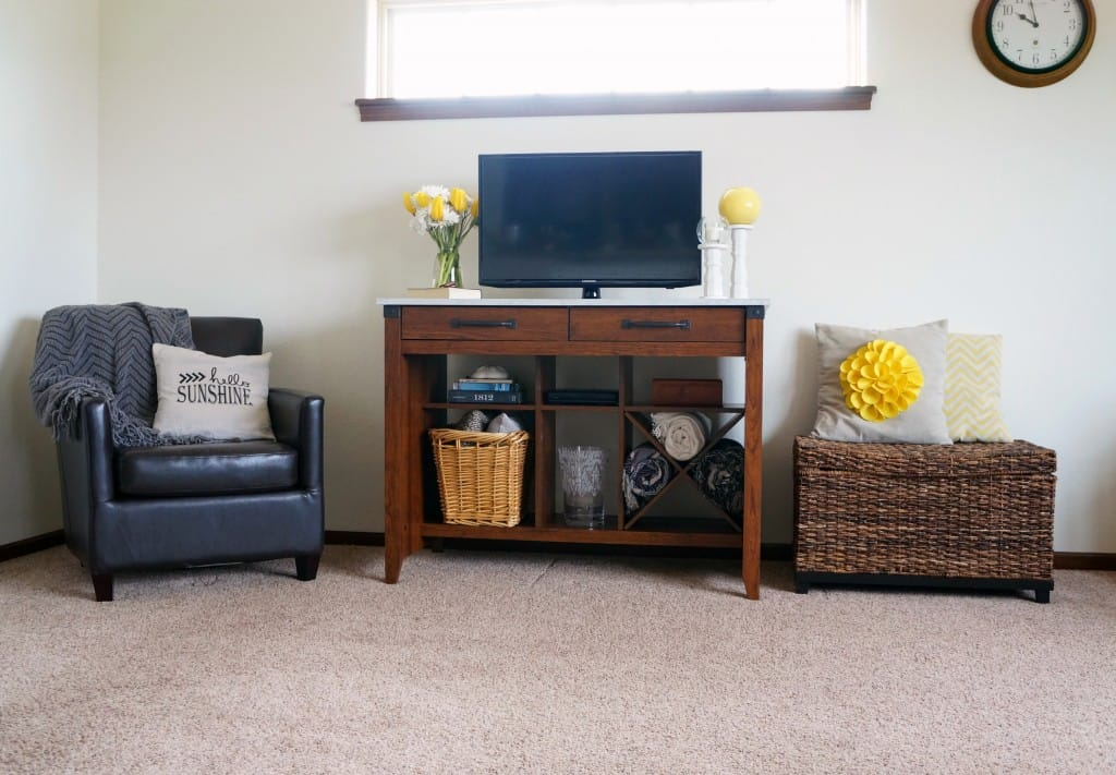 A styled entertainment area with Sauder and meaning items from around my home #PutTogether