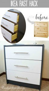 Ikea Rast Hack with paint and hardware, before and after. #MymenardsDIY #HickoryHardware