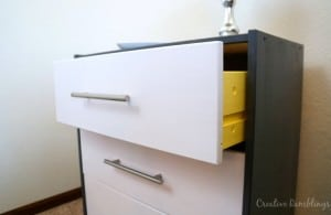 modern Ikea Rast hack with paint and hardware