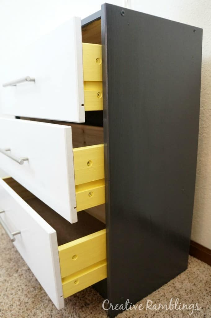Ikea Rast hack with yellow peek-a-boo drawers