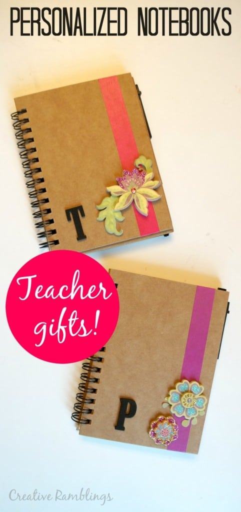 Personalized notebooks with washi take and floral embellishments, make great teacher gifts.