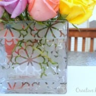 Etched Glass Vase with a Silhouette