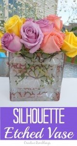 silhouette etched glass vase