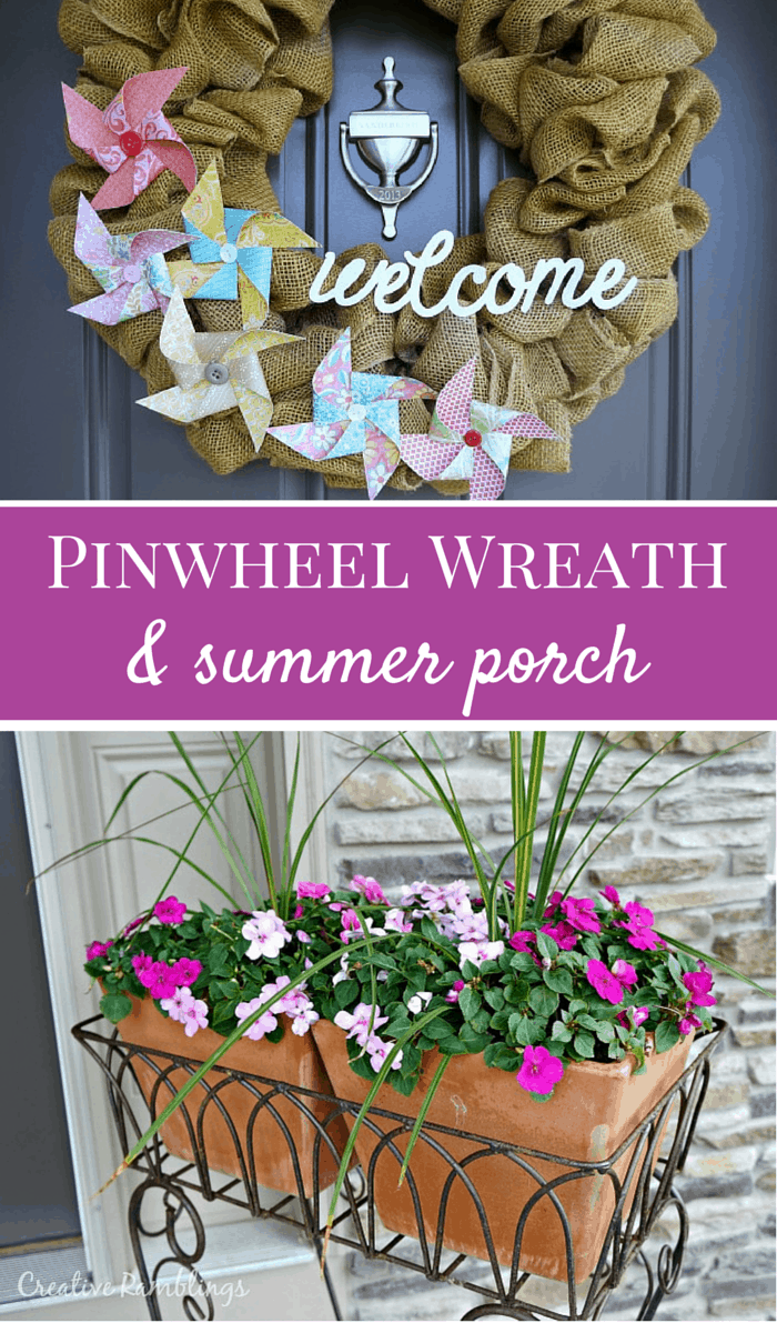 Learn how to quickly and easily create pinwheels.  These looks great on a summer burlap wreath.