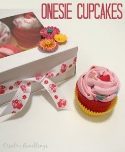 Onesie Cupcakes. A gift in a cute decorated box, this makes an adorable baby shower gift.