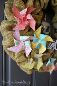 Easy to make pinwheels, these looks great on a summer burlap wreath.