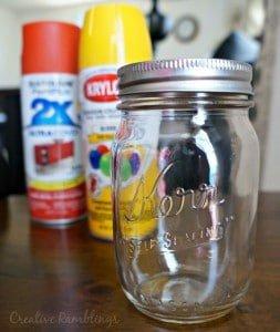 Spray painted mason jar, back to school jar gift.