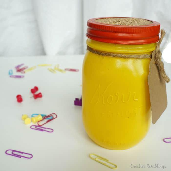 Yellow mason jar back to school gift