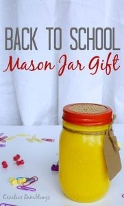 Back to school mason jar gift. Easy fun gift for someone who loves school supplies