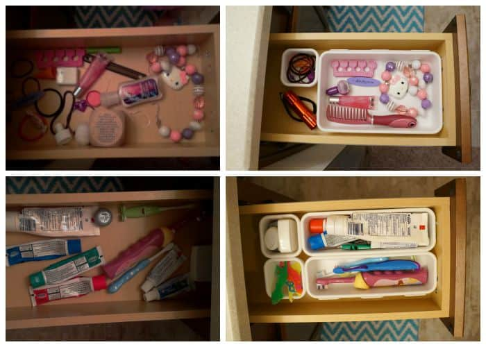 Simple organizing for bathroom drawers