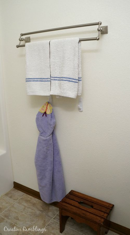 Kid friendly bathroom towel hooks