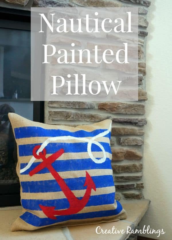 Add a little nautical coastal decor to your home with this easy to create nautical painted burlap pillow.  #DoDIY