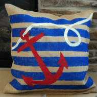 Nautical Painted Burlap Pillow