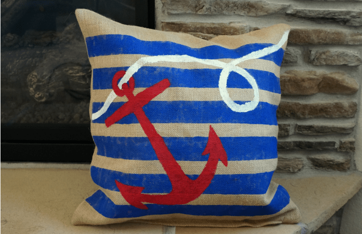 nautical painted burlap pillow #DoDIY