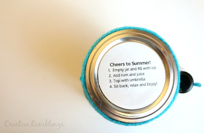 Summer cocktail in a jar. Add easy and fun instructions to the top of the jar.