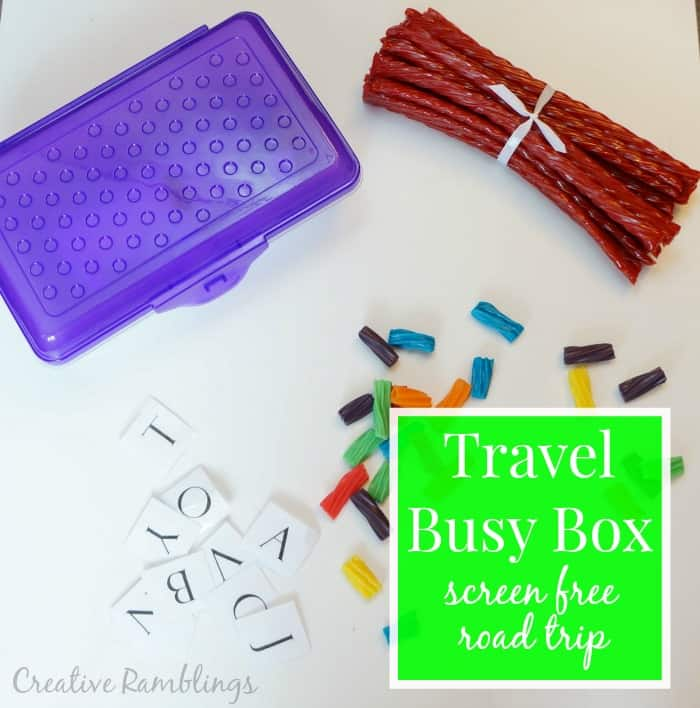 Put together a travel busy box for a screen free road trip.  Add creative games and snacks to keep everyone happy.  #TwizzlersSummer  [ad]