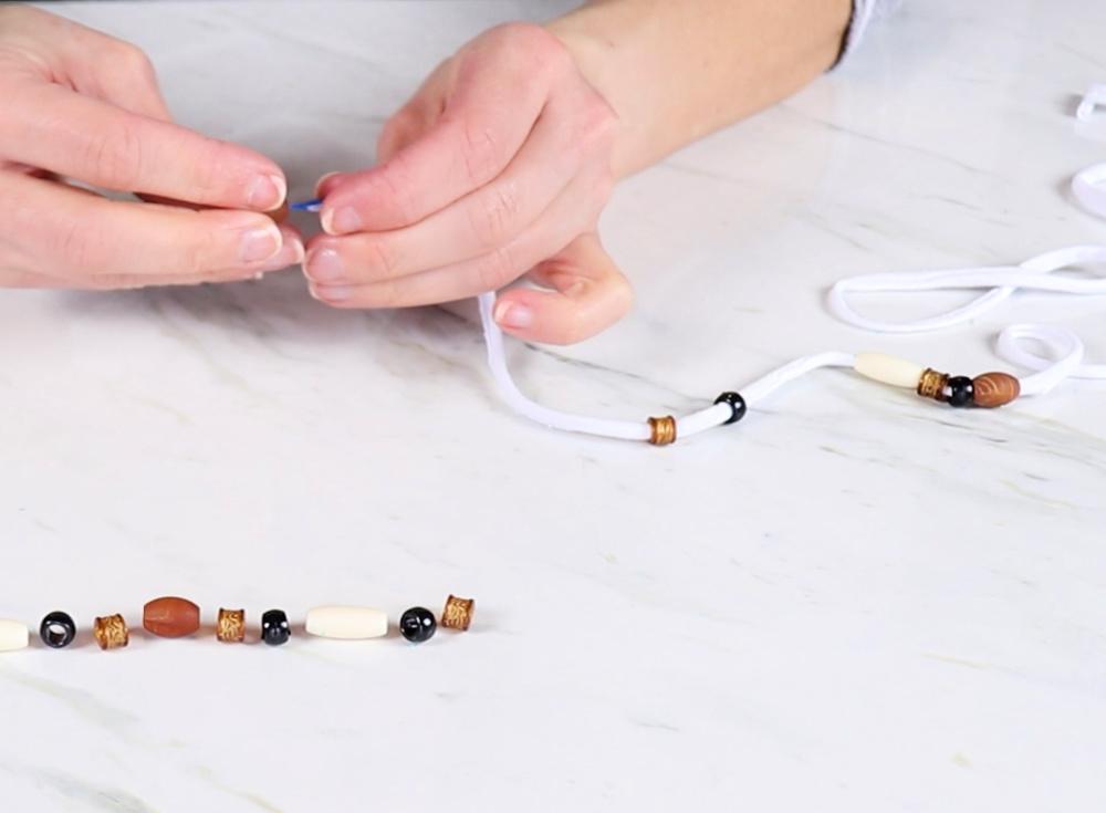 tread beads on t-shirt yarn