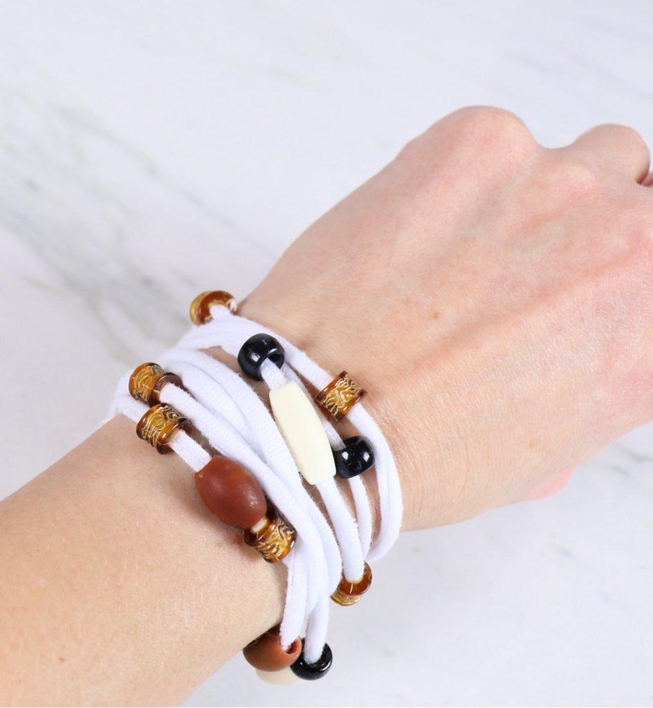 tshirt yarn wrap bracelet on wrist