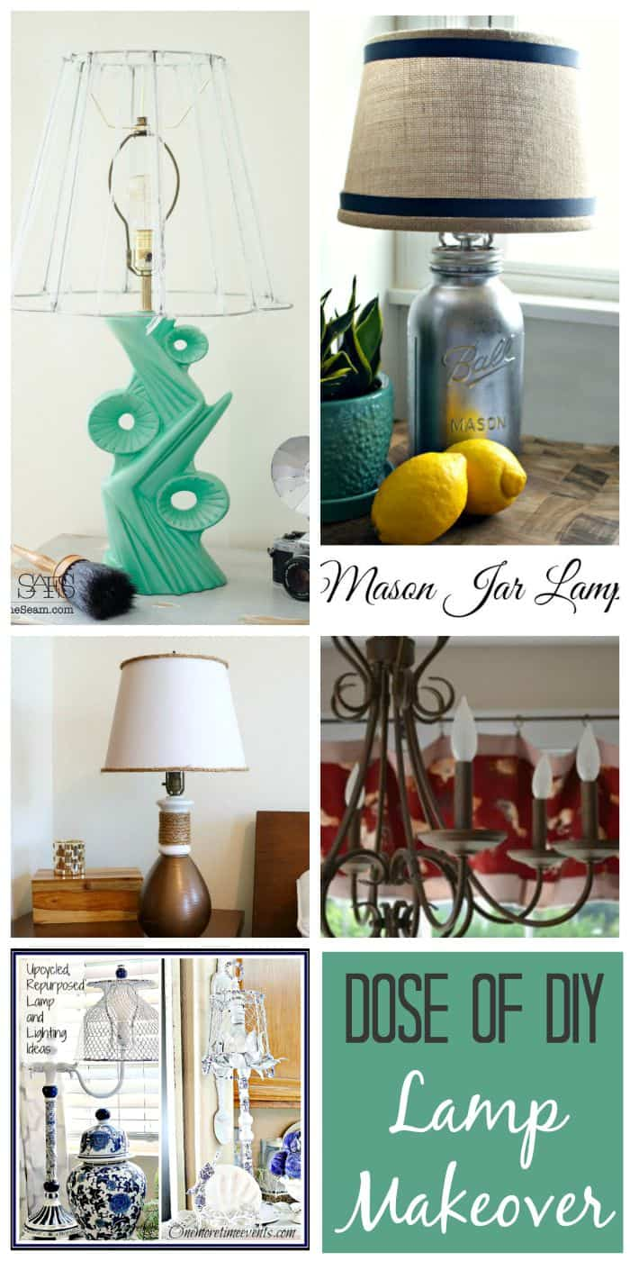 5 amazing lighting lamp makeovers from the Dose of DIY blog hop - August.  #DoseofDIY