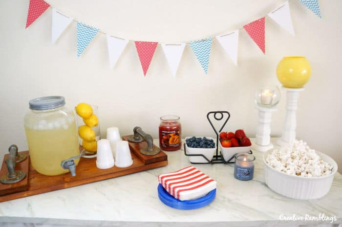 5 Simple Ways to Celebrate Labor Day. Set a pretty and easy table and use your food and drinks as decorations. #LoveAmericanHome #ad