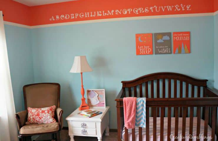 Coral and aqua nursery canvas wall art. Let her sleep for when she wakes she will move mountains. #silhouettechallenge