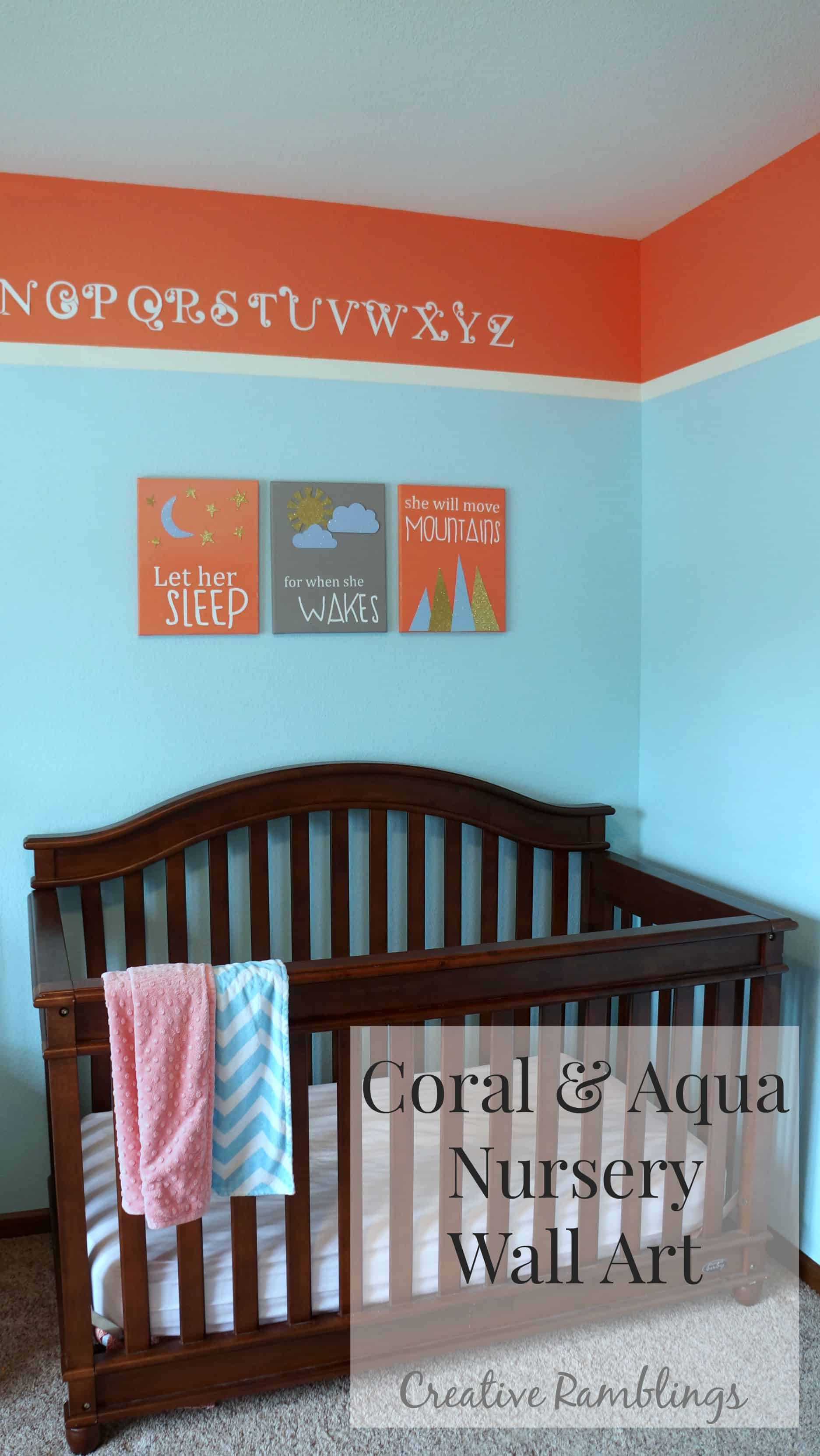Coral and aqua nursery canvas wall art.  Let her sleep for when she wakes she will move mountains.  #Silhouetechallenge
