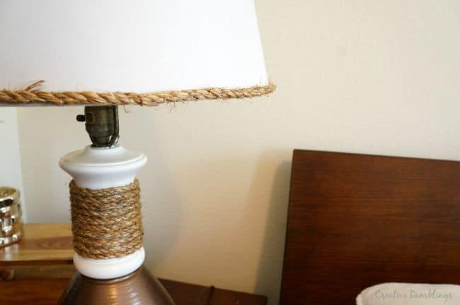 Add a rustic touch to a metallic lamp with rope around the base and shade.