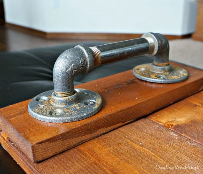 Industrial wood plank tray pipe handle