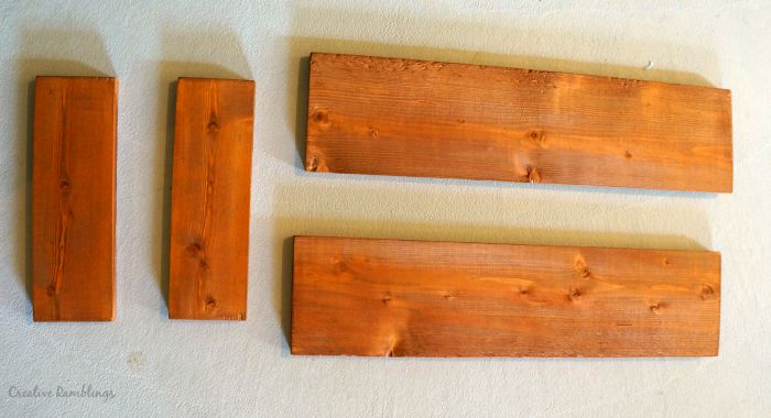 stained boards for industrial wood plank tray