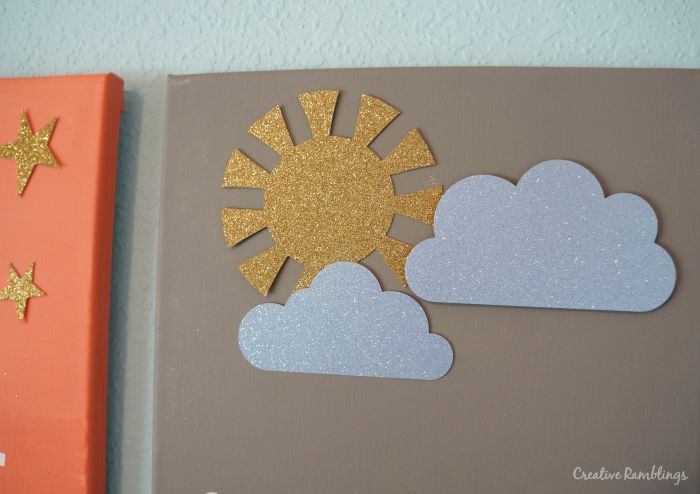 Glitter shapes on nursery wall art