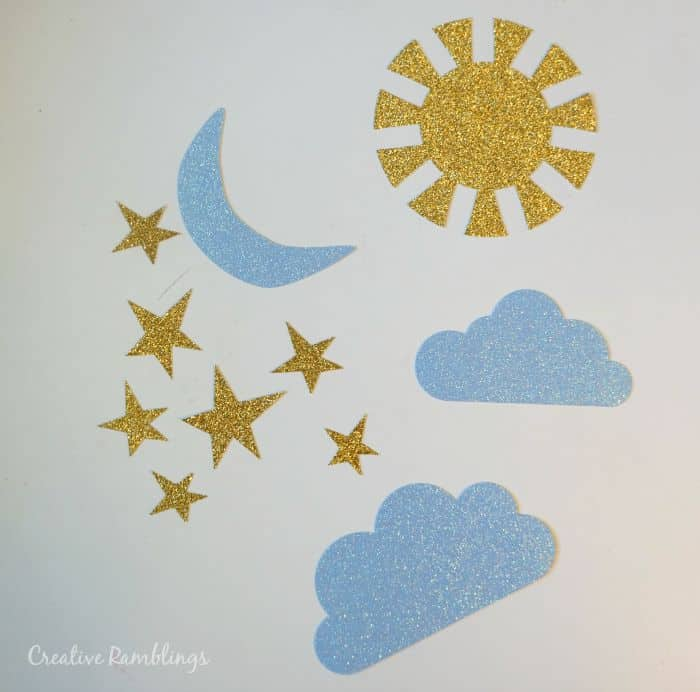 Glitter stars moon and sun for nursery wall art