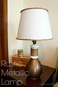 Beautiful lamp makeover using metallic paint and rustic looking rope accent. | www.creativeramblingsblog.com | #doseofDIY