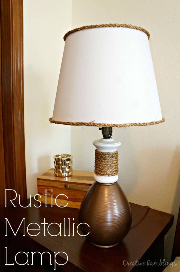 Beautiful lamp makeover using metallic paint and rustic looking rope accent.  | www.creativeramblingsblog.com | #doseofDIY