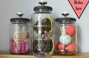 Upcycled boho storage jars