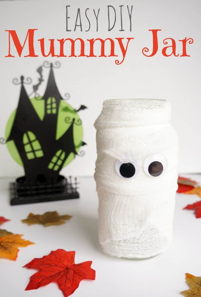 Create this spooky easy DIY mummy jar.